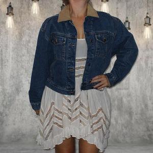 Timberland Blue Denim Leather Vintage Jean Jacket